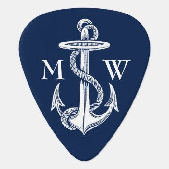 Vintage White Anchor Rope Navy Blue Background Guitar Pick by BCVintageLove at Zazzle