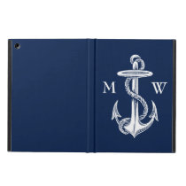 Vintage White Anchor Rope Navy Blue Background iPad Air Cover