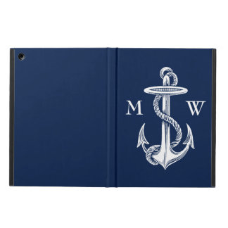 Vintage White Anchor Rope Navy Blue Background iPad Air Cases