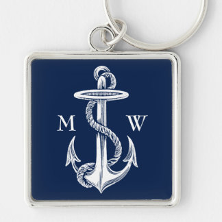 Vintage White Anchor Rope Navy Blue Background Keychain