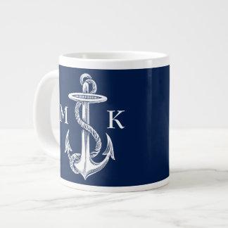 Vintage White Anchor Rope Navy Blue Background Large Coffee Mug