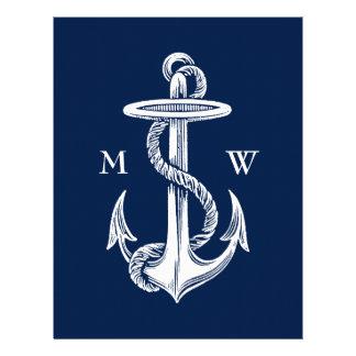 Vintage White Anchor Rope Navy Blue Background Letterhead