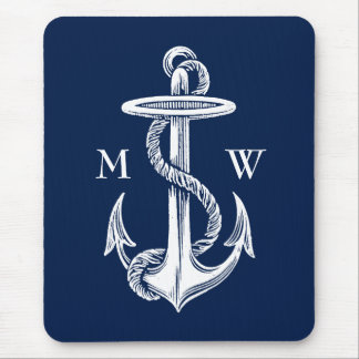 Vintage White Anchor Rope Navy Blue Background Mouse Pad