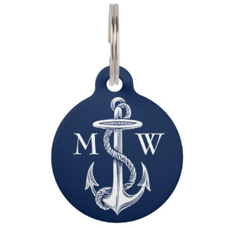 Vintage White Anchor Rope Navy Blue Background Pet Tag
