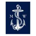 Vintage White Anchor Rope Navy Blue Background Postcard