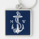 Vintage White Anchor Rope Navy Blue Background Silver-Colored Square Keychain
