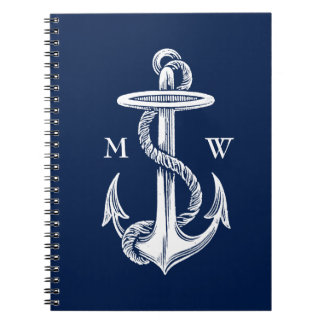 Vintage White Anchor Rope Navy Blue Background Spiral Notebook