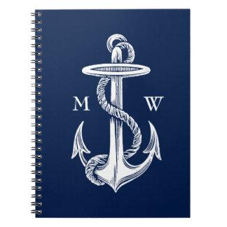 Vintage White Anchor Rope Navy Blue Background Spiral Notebook