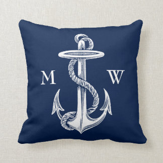 Vintage White Anchor Rope Navy Blue Background Throw Pillow