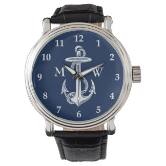 Vintage White Anchor Rope Navy Blue Background Wristwatches