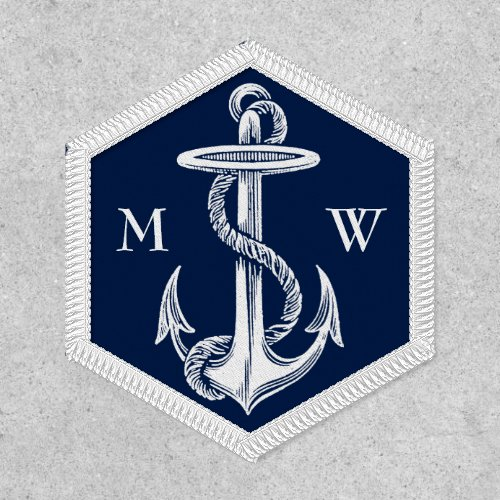 Vintage White Anchor Rope Navy Blue Monogram Patch
