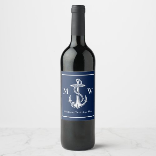 Vintage White Anchor Rope Navy Blue Monogram Wine Label