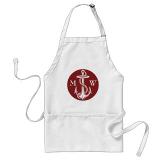 Vintage White Anchor Rope Wine Red Nautical Adult Apron