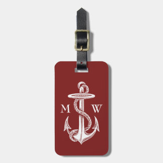 Vintage White Anchor Rope Wine Red Nautical Bag Tag