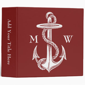 Vintage White Anchor Rope Wine Red Nautical Binder
