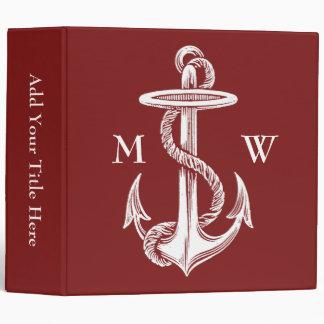 Vintage White Anchor Rope Wine Red Nautical Binder