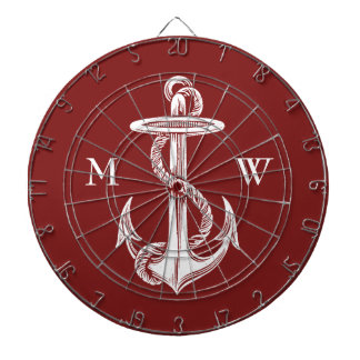Vintage White Anchor Rope Wine Red Nautical Dart Boards