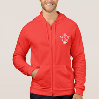 Vintage White Anchor Rope Wine Red Nautical Hoodie