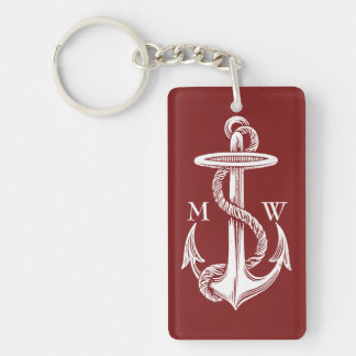 Vintage White Anchor Rope Wine Red Nautical Keychain