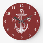 Vintage White Anchor Rope Wine Red Nautical Large Clock