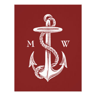 Vintage White Anchor Rope Wine Red Nautical Letterhead