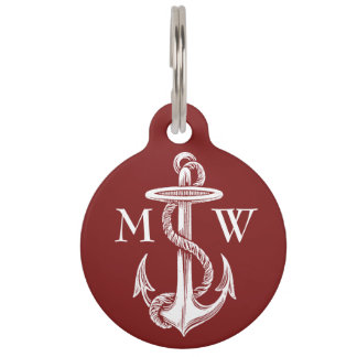 Vintage White Anchor Rope Wine Red Nautical Pet ID Tag
