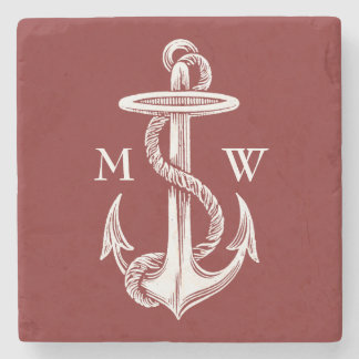 Vintage White Anchor Rope Wine Red Nautical Stone Coaster