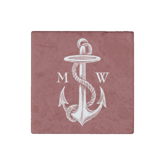 Vintage White Anchor Rope Wine Red Nautical Stone Magnet