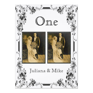 Vintage White and Black Photo Table Number