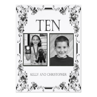 Vintage White and Black Photo Table Number 10 Card