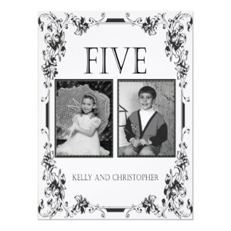 Vintage White and Black Photo Table Number 5 Card