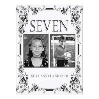 Vintage White and Black Photo Table Number 7 6.5x8.75 Paper Invitation Card