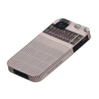 Vintage White And Brown Metal Radio Case-Mate iPhone 4 Covers