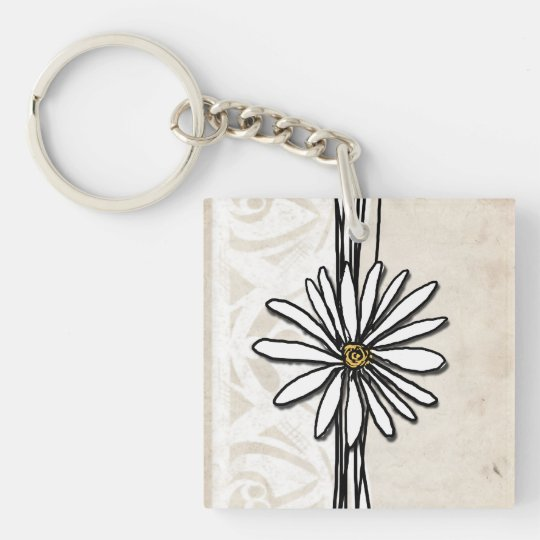 Vintage White and Ivory Daisy Keychain