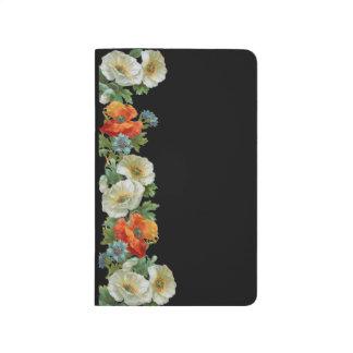 Vintage White and Orange Poppy Blank Journal