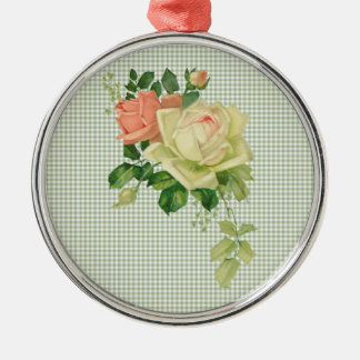 Vintage White and Pink Roses w/ Sage Green Gingham Metal Ornament