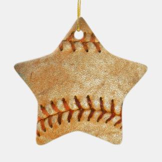 Vintage White Baseball red stitching Ceramic Ornament