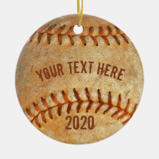 Vintage White Baseball red stitching Ceramic Ornament