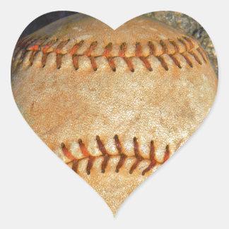 Vintage White Baseball red stitching Heart Sticker
