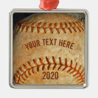 Vintage White Baseball red stitching Metal Ornament
