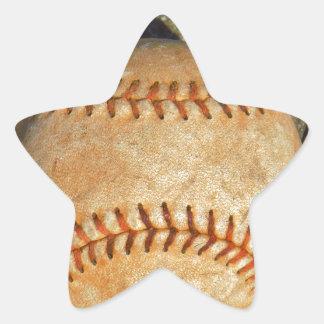 Vintage White Baseball red stitching Star Sticker