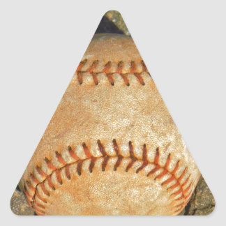 Vintage White Baseball red stitching Triangle Sticker
