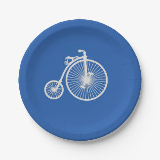 Vintage White Bicycle on Blue Paper Plates