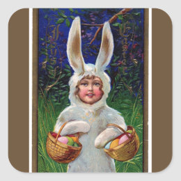 Vintage White Bunny Suit Easter Striped Brown Square Sticker