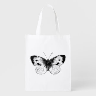 Vintage White Cabbage Butterfly Illustration Reusable Grocery Bags