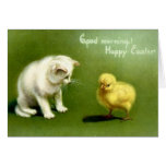 Vintage White Cat And Peep Easter Card Greeting Card