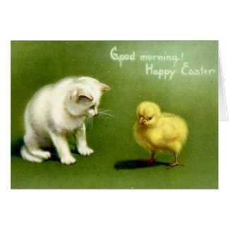 Vintage White Cat And Peep Easter Card