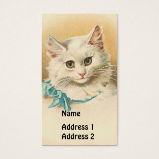 Vintage White Cat Business Card