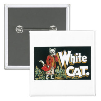 Vintage White Cat Cigar Label Art Pinback Buttons