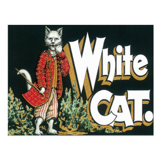 Vintage White Cat Cigar Label Art Postcard